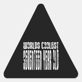 Cool 17th Birthdays Worlds Coolest Seventeen Year Triangle Sticker