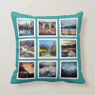 Cool 18 Instagram Photos Grid Custom Throw Pillow