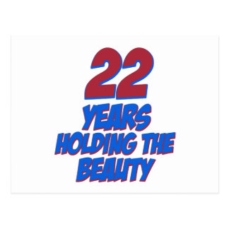 cool 22 years old birthday designs postcard
