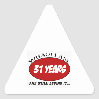 cool 31 years old birthday designs triangle sticker