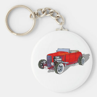 Cool 32 Ford HiBoy Roadster - Red Basic Round Button Keychain
