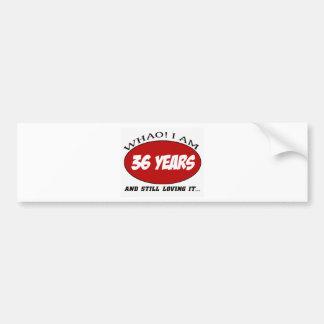 cool 36 years old birthday designs car bumper sticker