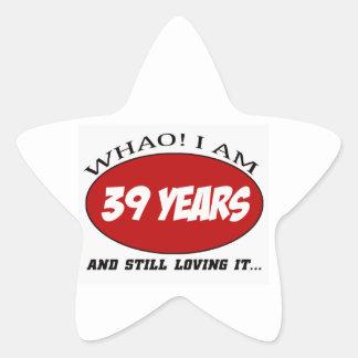 cool 39 years old birthday designs star sticker