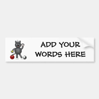 "Cool ""3-D"" Alley Cat Athlete Bumper Sticker"