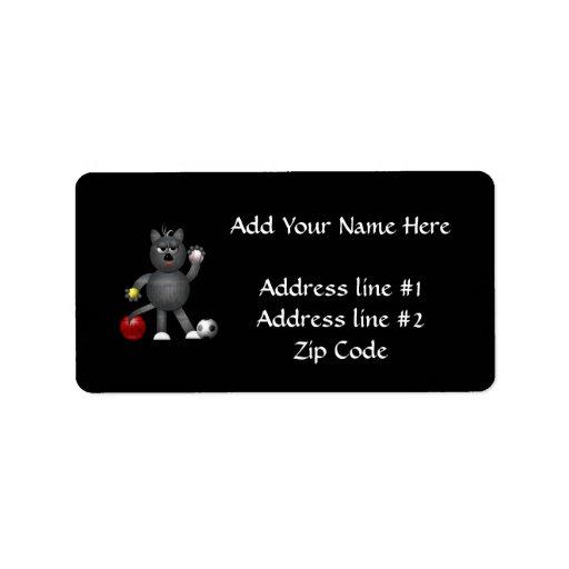 "Cool ""3-D"" Alley Cat Athlete Label"