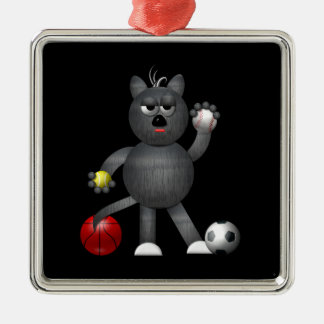 """Cool """"3-D"""" Alley Cat Athlete Christmas Ornaments"""