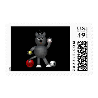 """Cool """"3-D"""" Alley Cat Athlete Postage"""