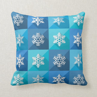 Cool 3D Effect Geometric Snowflakes Throw Pillow