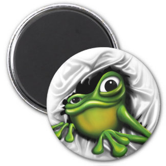Cool 3d frog 2 inch round magnet
