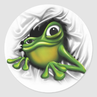 Cool 3d frog classic round sticker
