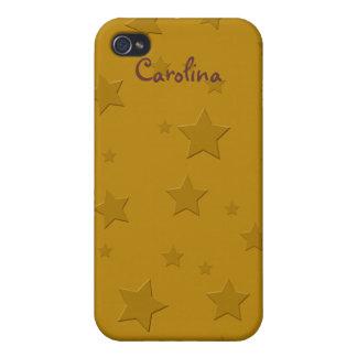 Cool 3D Gold Stars Custom Name Skin iPhone 4/4S Covers