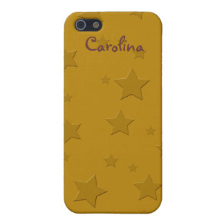 Cool 3D Gold Stars Custom Name Skin Cover For iPhone 5