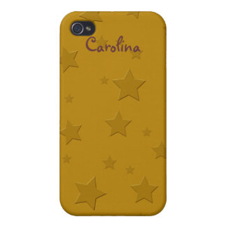 Cool 3D Gold Stars Custom Name Skin iPhone 4/4S Cases