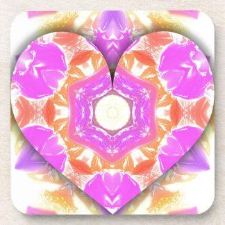 Cool 3d Heart lavender Peach Patterns Coaster