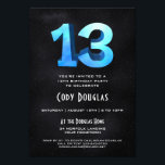 """Cool 3D on Black 13th Birthday Party Invitation<br><div class=""""desc"""">Our one-of-a-kind 13th birthday party invitation has a cool,  blue 3D age sitting atop a black starfield sky on the front and back. An awesome birthday invitation for an awesome birthday.  See more at Zigglets here at Zazzle.</div>"""