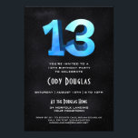 "Cool 3D on Black 13th Birthday Party Invitation<br><div class=""desc"">Our one-of-a-kind 13th birthday party invitation has a cool,  blue 3D age sitting atop a black starfield sky on the front and back. An awesome birthday invitation for an awesome birthday.  See more at Zigglets here at Zazzle.</div>"