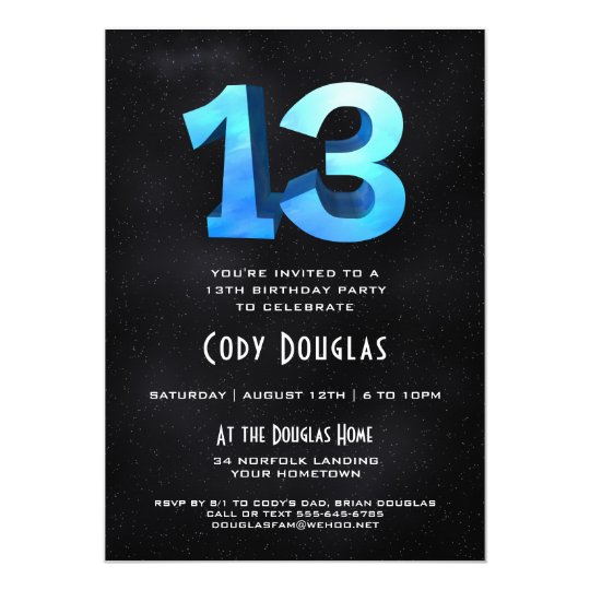 Cool 3D On Black 13th Birthday Party Invitation