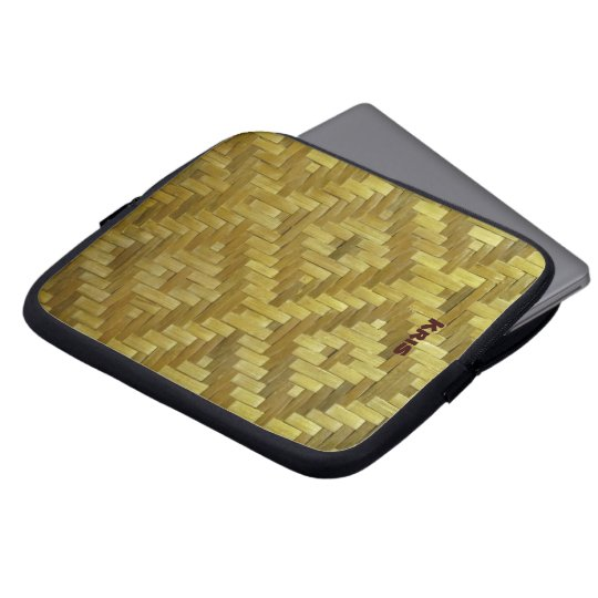 Cool 3D Woven Rattan Diamonds Pattern Custom Name Computer Sleeve