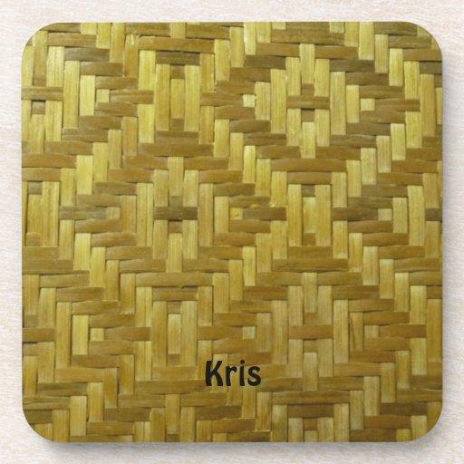 Cool 3D Woven Rattan Diamonds Pattern Custom Name Drink Coasters