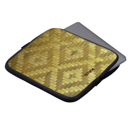 Cool 3D Woven Rattan Diamonds Pattern Custom Name Laptop Computer Sleeves