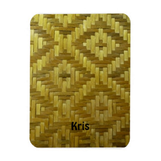 Cool 3D Woven Rattan Diamonds Pattern Custom Name Magnet