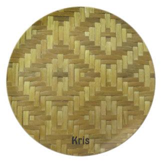 Cool 3D Woven Rattan Diamonds Pattern Custom Name Melamine Plate