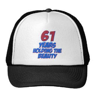 cool 61 years old birthday designs trucker hat