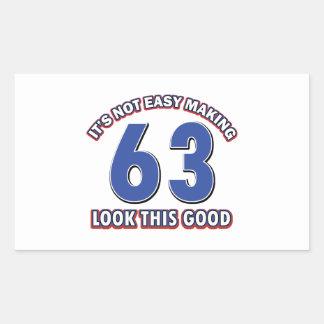 Cool 63 year birthday designs rectangular sticker