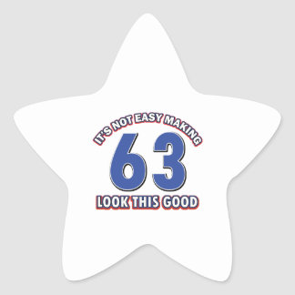 Cool 63 year birthday designs star sticker