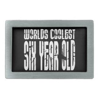Cool 6th Birthdays Worlds Coolest Six Year Old Rectangular Belt Buckles