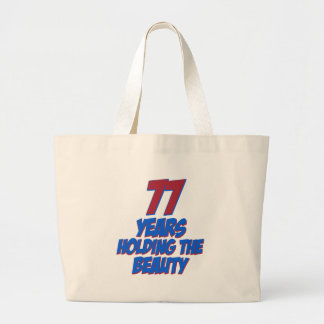 cool 77 years old birthday designs tote bags
