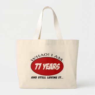 cool 77 years old birthday designs canvas bags