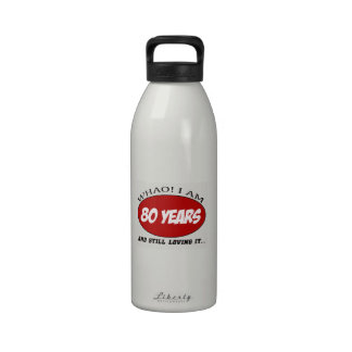cool 80 years old birthday designs reusable water bottles