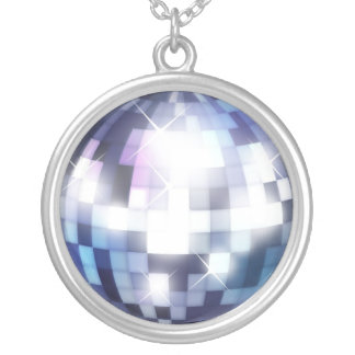 Cool 80s Disco Ball Round Pendant Necklace