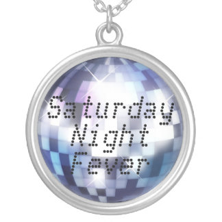 Cool 80s Disco Ball Saturday Night Fever Round Pendant Necklace