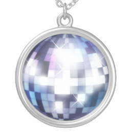 Cool 80s Disco Ball Silver Plated Necklace