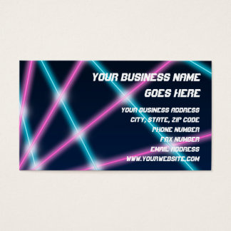 Cool 80s Laser Light Show Background Retro Neon Business Card