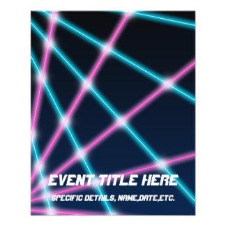 "Cool 80s Laser Light Show Background Retro Neon 4.5"" X 5.6"" Flyer"