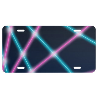 Cool 80s Laser Light Show Background Retro Neon License Plate