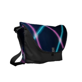 Cool 80s Laser Light Show Background Retro Neon Messenger Bags