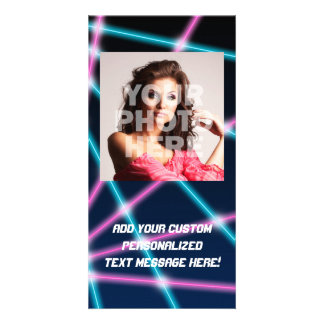 Cool 80s Laser Light Show Background Retro Neon Photo Card