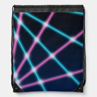 Cool 80s Laser Light Show Background Retro Neon Drawstring Bag