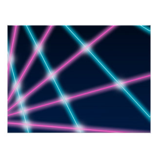 Cool 80s Laser Light Show Background Retro Neon Poster