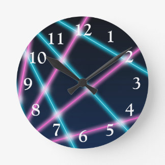 Cool 80s Laser Light Show Background Retro Neon Round Clock