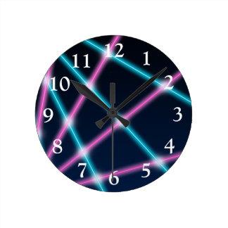 Cool 80s Laser Light Show Background Retro Neon Round Clock