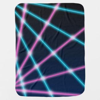Cool 80s Laser Light Show Background Retro Neon Stroller Blanket