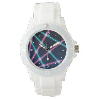 Cool 80s Laser Light Show Background Retro Neon Wristwatch