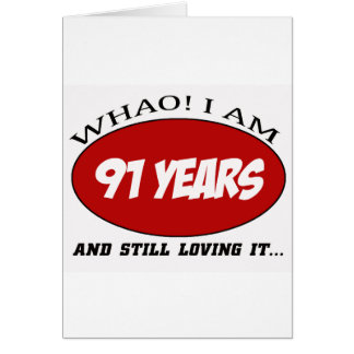 cool 91 years old birthday designs greeting cards