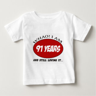 cool 91 years old birthday designs t shirt