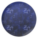 Cool  abstract antique butterflies  blue nplate plates